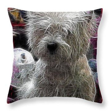 Throw Pillow featuring the photograph Bishon Frise by EricaMaxine  Price