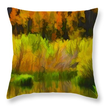 Bishop Creek Aspens Throw Pillow