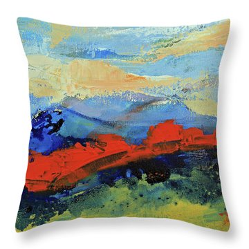 Throw Pillow featuring the painting Bishop Mountains - Fall 2016 by Walter Fahmy