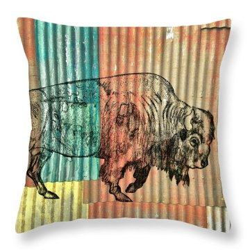 Throw Pillow featuring the photograph Bison 127-3 by Larry Campbell