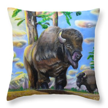Bison Acrylic Painting Throw Pillow