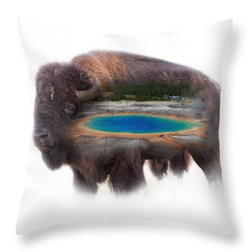 Bison And Great Prismatic Spring Double Exposure Throw Pillow