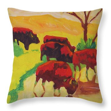 Bison Art Bison Crossing Stream Yellow Hill Painting Bertram Poole Throw Pillow