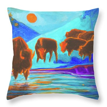 Bison Art - Seven Bison At Sunrise Yosemite Painting T Bertram Poole Throw Pillow