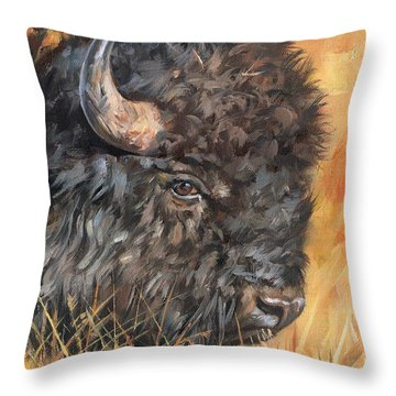 Bison Throw Pillow by David Stribbling