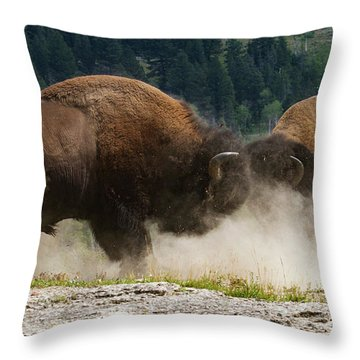 Bison Duel Throw Pillow