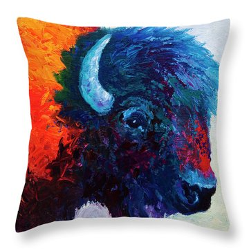 Bison Head Color Study I Throw Pillow