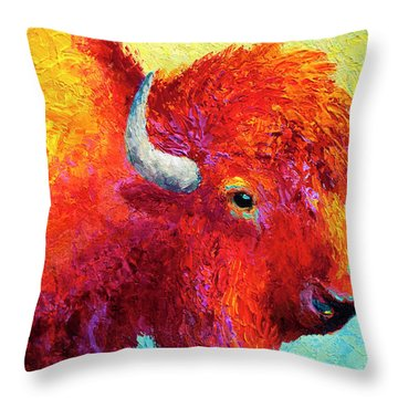 Bison Head Color Study Iv Throw Pillow