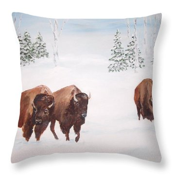 Bison In The Snow Throw Pillow by Ellen Canfield