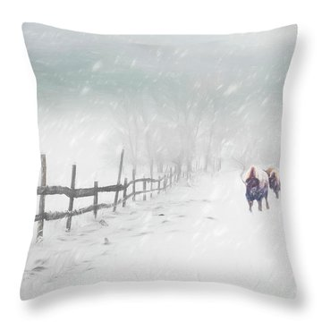 Bison In Winter Throw Pillow
