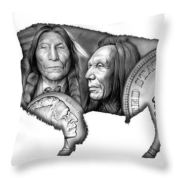 Bison Indian Montage 2 Throw Pillow