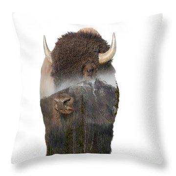 Bison Mountain  Throw Pillow