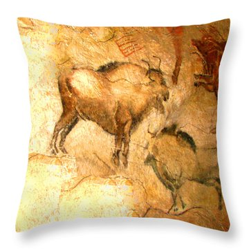 Bison Of Altamira Throw Pillow by Asok Mukhopadhyay