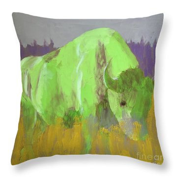 Bison On The American Plains Throw Pillow