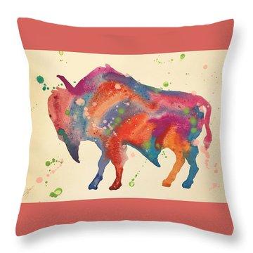 Bison Rose Throw Pillow