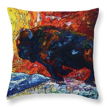 Bison Running Print Of Olena Art Wild The Storm Oil Painting With Palette Knife  Throw Pillow