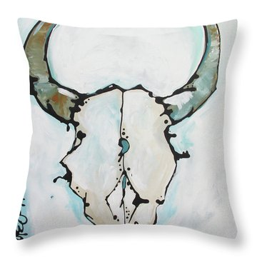 Bison Skull #2 Throw Pillow