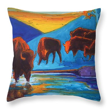 Bison Turquoise Hill Sunset Acrylic And Ink Painting Bertram Poole Throw Pillow