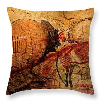 Bisons Horses And Other Animals Closer Throw Pillow
