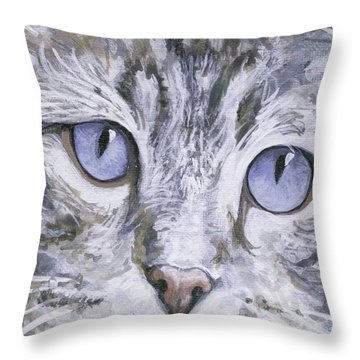 Throw Pillow featuring the painting Bisous by Mary-Lee Sanders