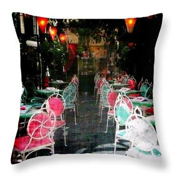 Bistro Chairs Throw Pillow by Lori Seaman