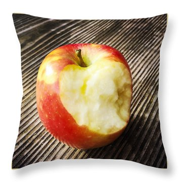 Bitten Red Apple Throw Pillow by Matthias Hauser