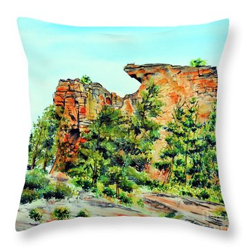 Bitterroot Cliffs Throw Pillow by Tracy Rose Moyers
