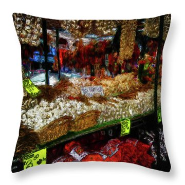 Biward Market Garlic Throw Pillow