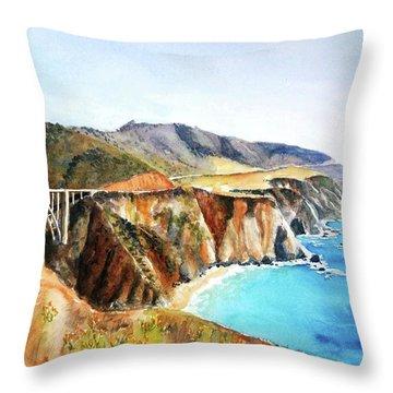 Bixby Bridge Big Sur Coast California Throw Pillow