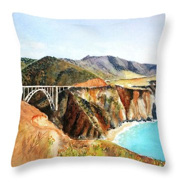 Bixby Bridge Big Sur Coast California Throw Pillow