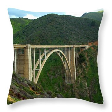 Bixby Bridge In Big Sur Throw Pillow