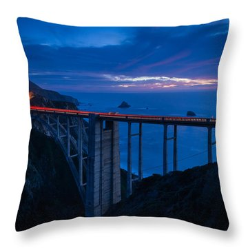 Bixby Canyon Bridge Sunset Throw Pillow