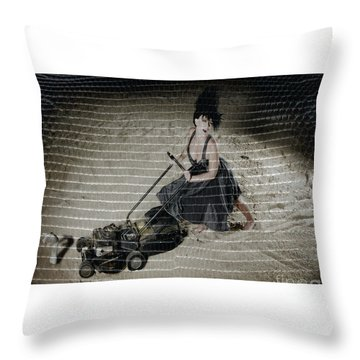 Bizarre Girl With Lawn Mower On Beach Throw Pillow by Michael Edwards