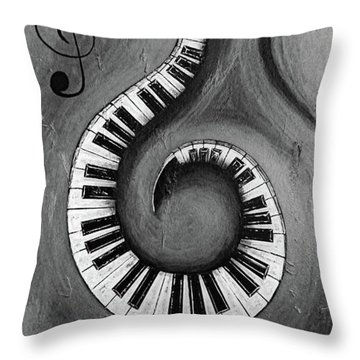 Black 1 - Swirling Piano Keys - Music In Motion  Throw Pillow