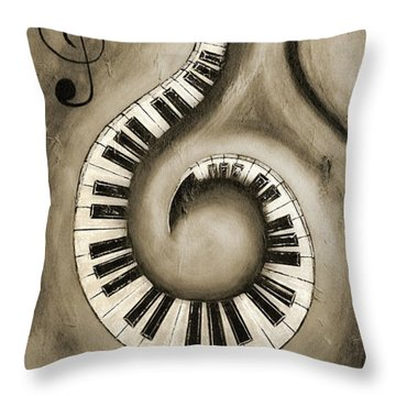 Black 6 - Swirling Piano Keys - Music In Motion  Throw Pillow