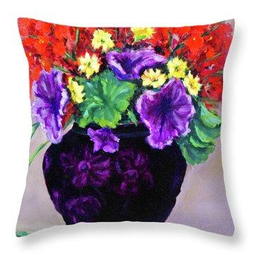 Black Amethyst Satin Vase Throw Pillow