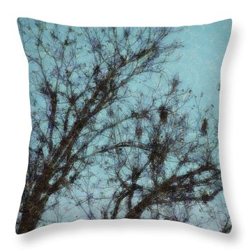 Throw Pillow featuring the digital art Black And Blue Smudge by Ellen Barron O'Reilly
