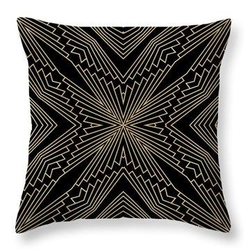 Black And Gold Art Deco Filigree 003 Throw Pillow