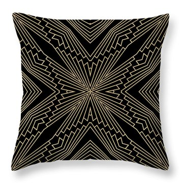 Black And Gold Art Deco Filigree 003 Throw Pillow