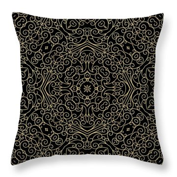 Black And Gold Filigree 002 Throw Pillow