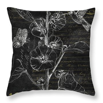 Black And Gold Hummingbirds 1 Throw Pillow