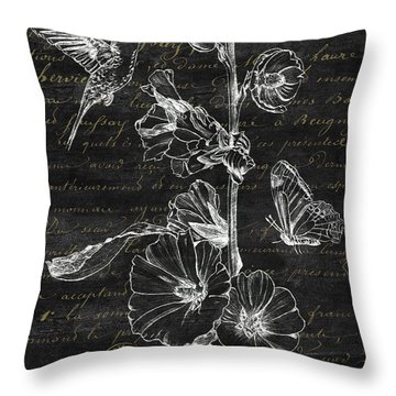 Black And Gold Hummingbirds 2 Throw Pillow