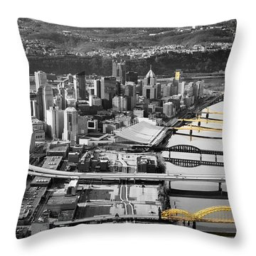 Black And Gold Pittsburgh  Throw Pillow