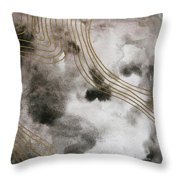 Black And Gold Watercolor Throw Pillow