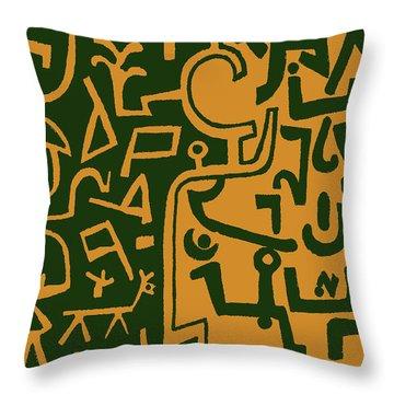 Throw Pillow featuring the digital art Black And Orange Klee by Vagabond Folk Art - Virginia Vivier