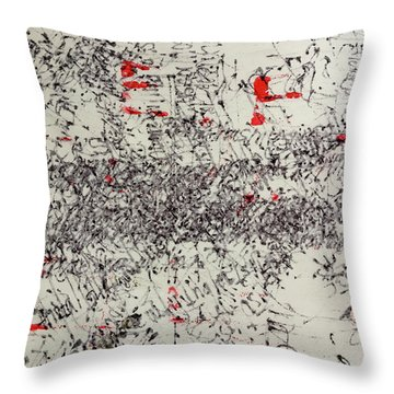 Throw Pillow featuring the painting Black And Red 2 by Nancy Merkle