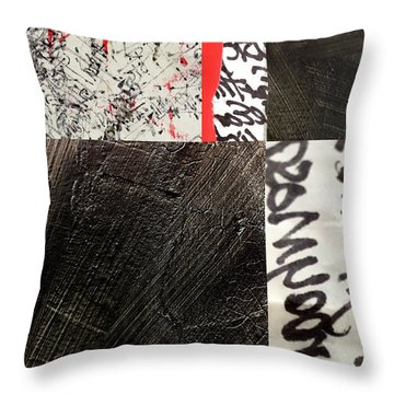 Throw Pillow featuring the painting Black And Red 3 by Nancy Merkle
