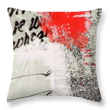 Throw Pillow featuring the painting Black And Red 4 by Nancy Merkle
