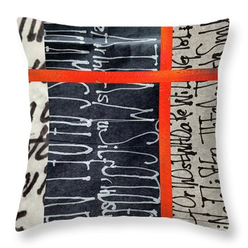 Throw Pillow featuring the painting Black And Red 7 by Nancy Merkle