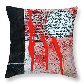 Throw Pillow featuring the painting Black And Red 8 by Nancy Merkle
